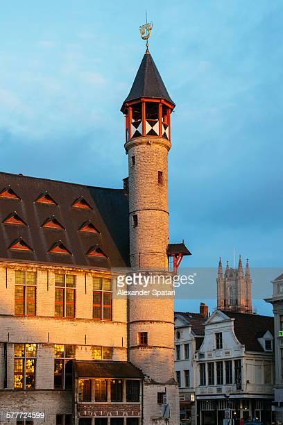 medieval architecture of ghent, belgium - flandres oriental imagens e fotografias de stock