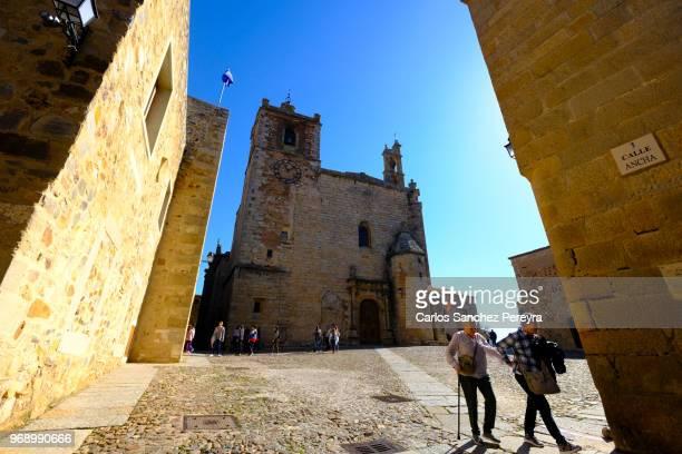 medieval architecture - caceres stock-fotos und bilder