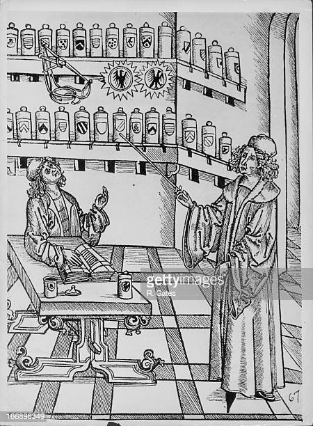 Medieval artwork showing alchemists at work surrounded by potions and equipment