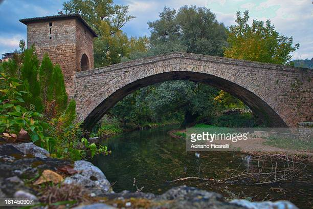 medieval bridge in subiaco - adriano ficarelli stock pictures, royalty-free photos & images