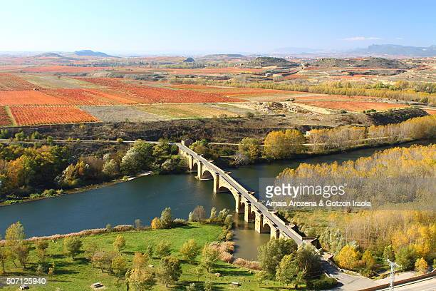 medieval bridge over ebro river in san vicente de la sonsierra village - ebro river stock photos and pictures