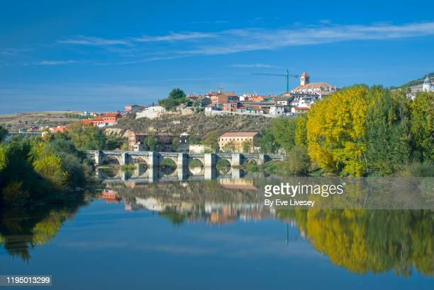 medieval bridge over the river duero - valladolid spanish city stock pictures, royalty-free photos & images