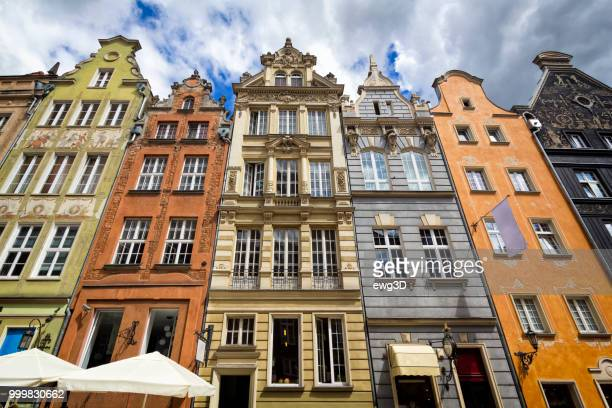 medieval buildings of the old town, gdansk, poland - gdansk stock pictures, royalty-free photos & images