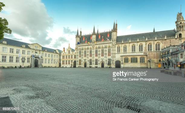 Medieval Burg square in Bruges, Flanders with Town Hall and Basilica of the Holy Blood before dusk, Flanders, Belgium