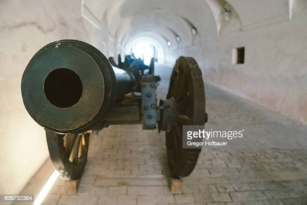 medieval cannon at forchenstein castle - restraint muzzle stock photos and pictures