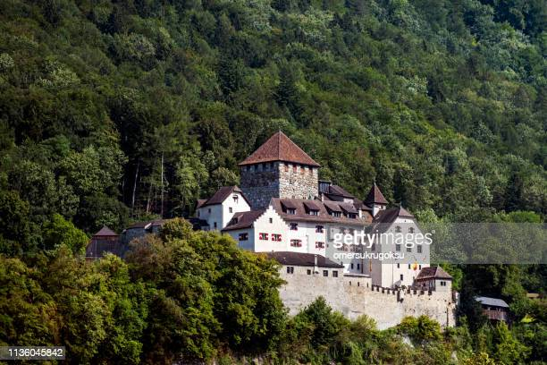 medieval castle in vaduz, liechtenstein - vaduz stock pictures, royalty-free photos & images