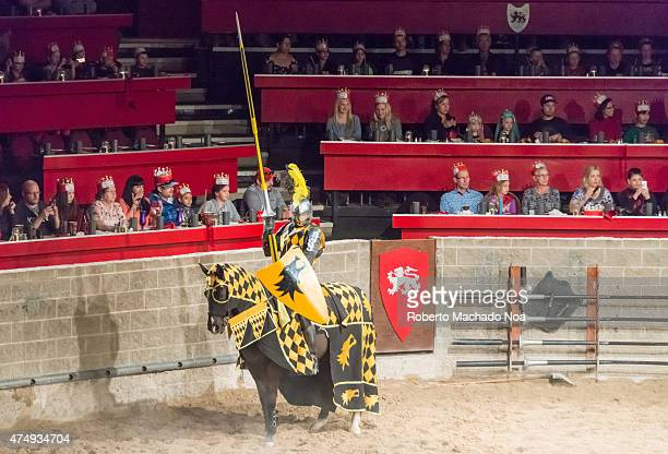 Medieval Castle Restaurant and Tournament Knight wearing armor sits on horse that wears blackandyellow checkered attire with the knight holding a...