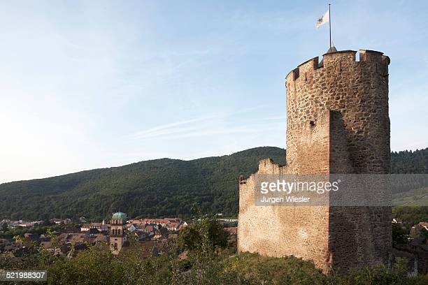 Medieval castle ruins, Kaysersberg, Haut-Rhin, Alsace, Alsace Wine Route, France