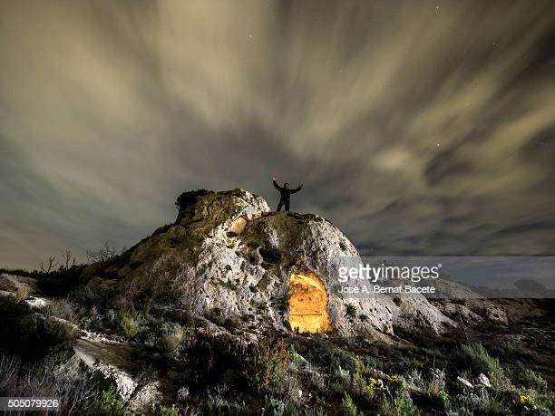 Medieval cave excavated in the rock for the man like refuge on the top of a mountain