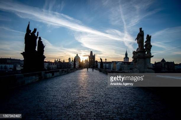 Medieval Charles Bridge is seen nearly empty after Czech government declared a nationwide quarantine due to the novel coronavirus outbreak in Prague...