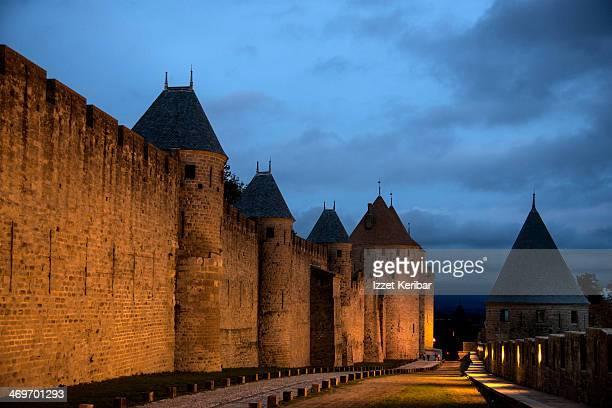 Medieval city of Carcassonne illuminated at dusk