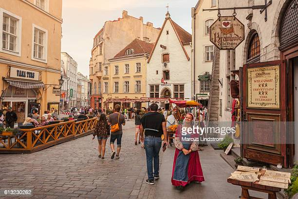 medieval city of tallinn - estonia stock photos and pictures