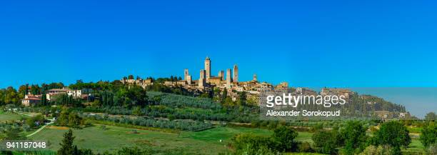 medieval city san gimignano panoramic view, tuscany, italy. - volterra stock photos and pictures