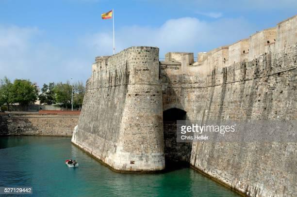 medieval city walls & moat ceuta spain - ceuta fotografías e imágenes de stock
