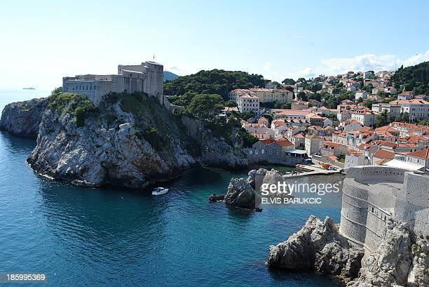 Medieval defence walls surrounding the historical city of Dubrovnik one of the most Southern tourist destinations on Croatia's Adriatic coast are...
