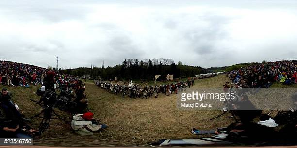 Medieval enthusiasts arrive for the largest medieval battle in the Czech Republic on April 23 2016 in Libusin Czech Republic About 2000 enthusiasts...