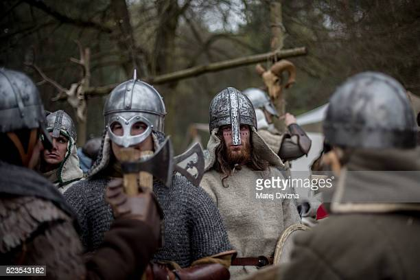 Medieval enthusiasts prepare for the reenactment of a medieval battle in the Czech Republic on April 23 2016 in Libusin Czech Republic About 2000...