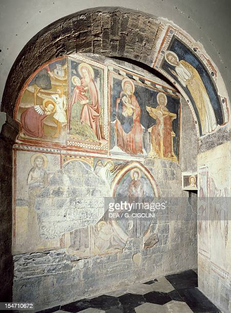 Medieval frescoes from the left transept, Church of San Fedele, Como. Italy, 12th century.