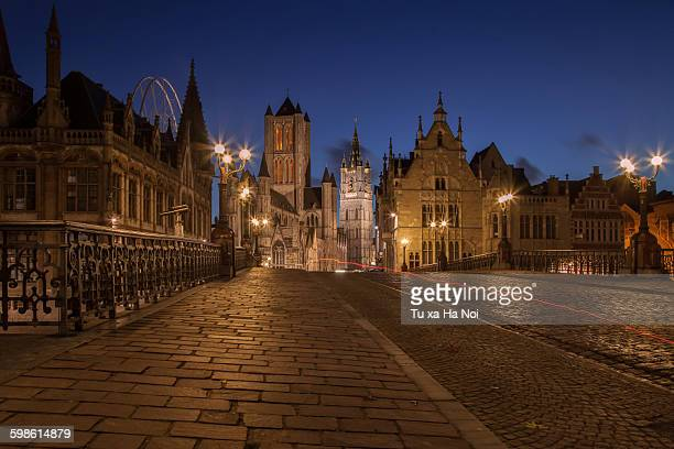 Medieval Ghent before sunrise