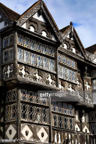 medieval half-timbered architecture at ludlow - ludlow shropshire stock photos and pictures