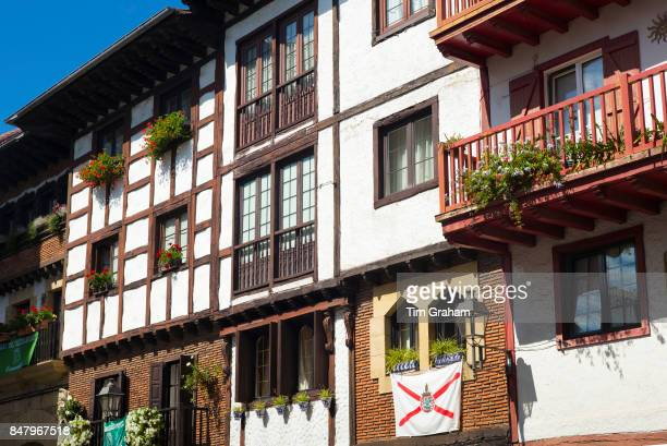 Medieval halftimbered architecture of flats in Hondarribia in Gipuzkoa Basque Country Spain