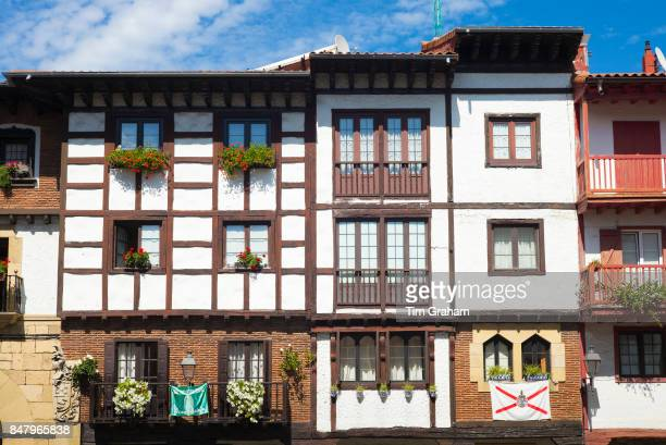 Medieval halftimbered architecture of homes in Hondarribia in Gipuzkoa Basque Country Spain