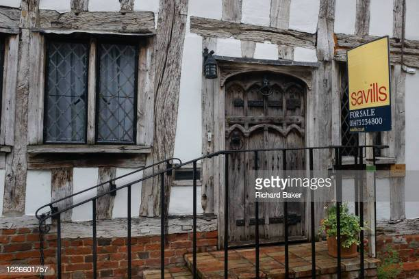 A medieval house is on sale by the Savills estate agent on 9th July 2020 in wool town Lavenham Suffolk England By the late 15th century the town was...