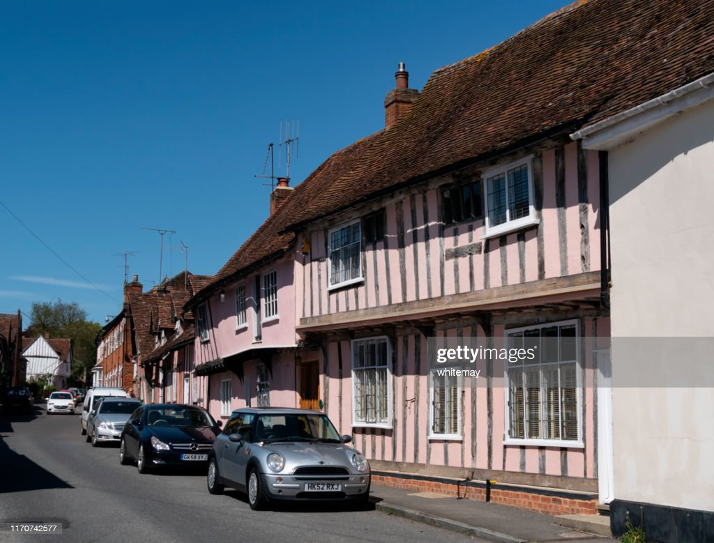 Medieval houses in Water Street, Lavenham, Suffolk : Stock Photo