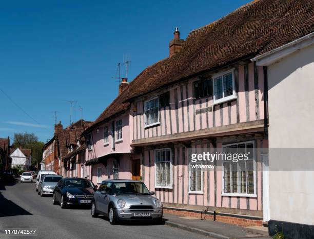 medieval houses in water street, lavenham, suffolk - lavenham stock photos and pictures