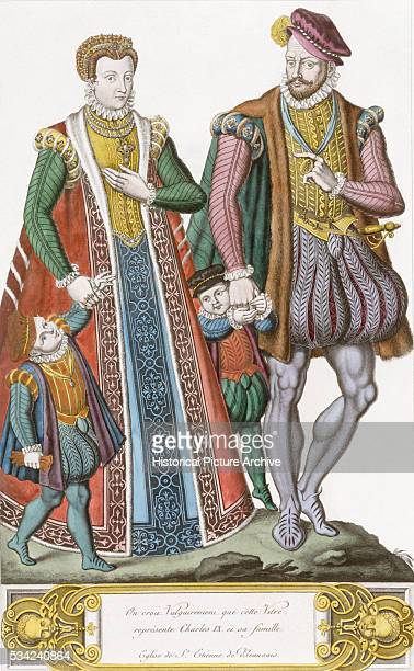 Medieval Illustration of Royal Family in Costume