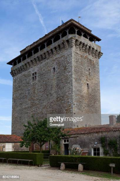 medieval keep of bazoges-en-pareds - gwengoat stock pictures, royalty-free photos & images