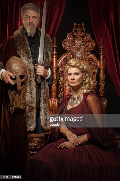 medieval king and queen in studio shoot - king royal person stock pictures, royalty-free photos & images
