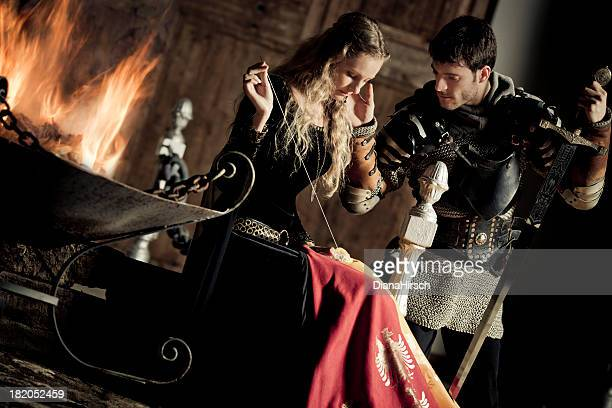 medieval knight and lady - redoubtable film stock photos and pictures