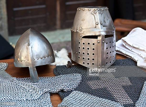 Medieval Knight Costume, Detail Of Helmets