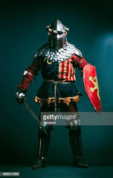 Medieval knight dressed for Medieval combat fight sport.