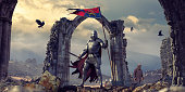 Medieval Knight In Armour With Flag and Sword Near Ruins