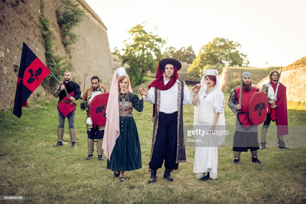 Medieval knights and honor guard with princess and dukes : Stock Photo