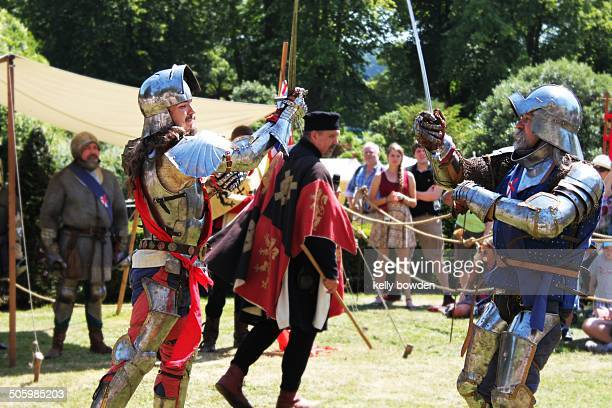 Medieval knights fighting reenactment at arundel Sussex jousting tournament England