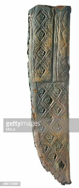 Medieval leather knife sheath with engraved and stamped rosette and lozenge decoration from the 19922001 excavations at the Merrill Lynch Financial...