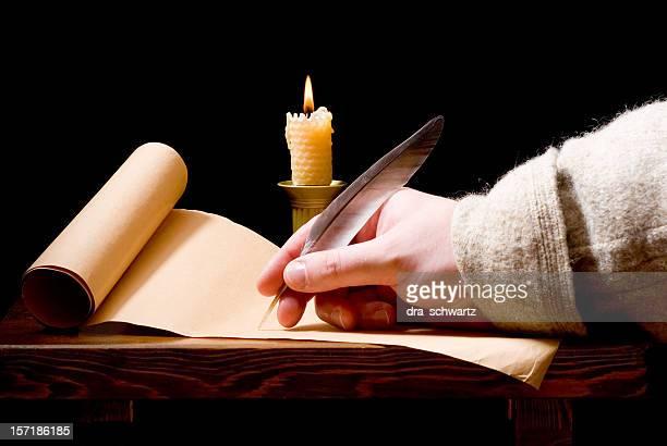 Medieval man writing