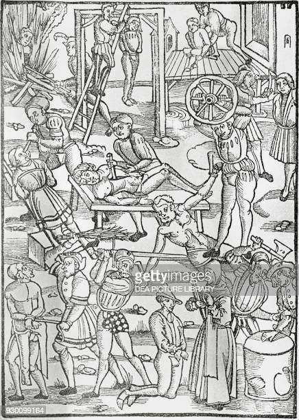 Medieval methods of execution and tortures woodcut from Der neu Leyenspiegel by Ulrich Tengler printed by Johann Schoeffer Mainz