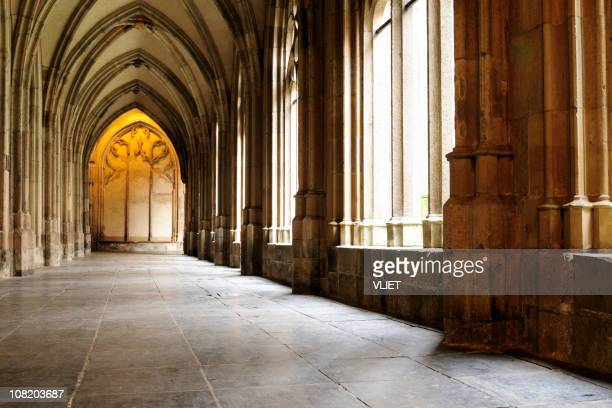 medieval monastery corridor in utrecht - monastery stock pictures, royalty-free photos & images