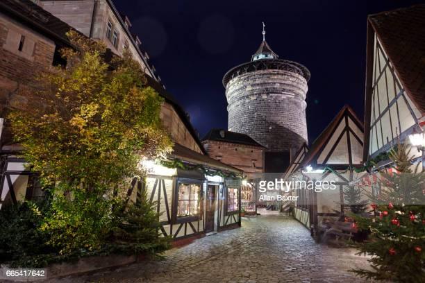 Medieval Nuremburg city fortifications illuminated at night