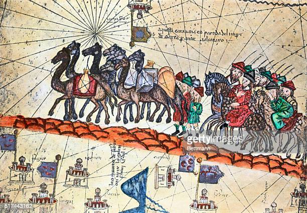 A medieval painting showing the 13thcentury caravan of Niccolo Polo and Maffeo Polo crossing Asia Detail of the Carta Catalana