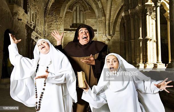 Medieval Priest And Nuns Singing