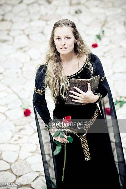 medieval princess with old book