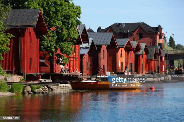 Medieval riverside red hut granary warehouses