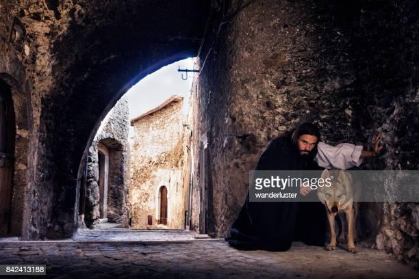 uomo di scena medievale e lupo - castel del monte foto e immagini stock
