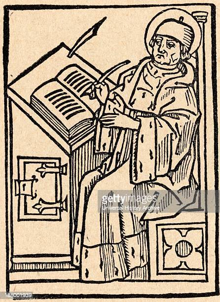A Medieval Scribe Muster Mattias Saint Birgittas Confessor After A Woodcut From 1492 From Sveriges Historia By Otto Sjogren Published Malmo 1938