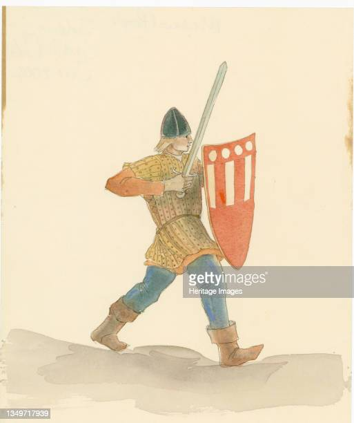 Medieval soldier carrying a long sword in his right hand and a shield in his left, 2004. A reconstruction drawing of a medieval soldier carrying a...